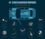 Flat Banner Big Infographic Car Chassis Repair. royalty free illustration