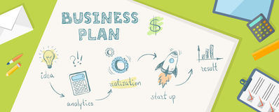 Flat banner of bussiness plan in doodle style. Idea, anaytics, r Royalty Free Stock Image