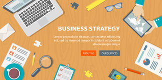Flat banner of bussiness strategy. Desktop with objects and hand Stock Images