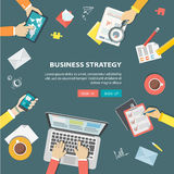 Flat banner of bussiness strategy. Desktop with objects and hand Stock Photography