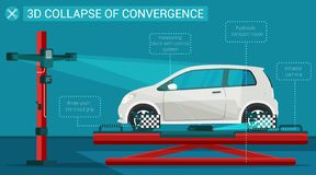 Flat Banner 3d Collapse Convergence Illustration. Flat Banner 3d Collapse Convergence Vector Illustration. Three Point Tire Tread Grip. Measuring Block With vector illustration