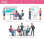 Flat Banner Disc Behavioral Assessment Vector. Flat Banner Disc Behavioral Assessment. Vector Illustration on White Background. Employee Training Monitoring royalty free illustration