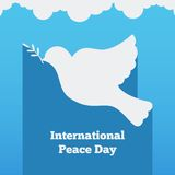Flat banner with a dove, the international day of peace design  illustration. Flat banner  peace design  illustration Stock Photos