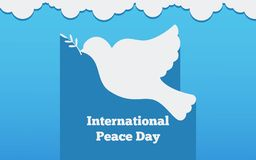 Flat banner with a dove, the international day of peace design vector illustration. Flat banner  peace design vector illustration Royalty Free Stock Image
