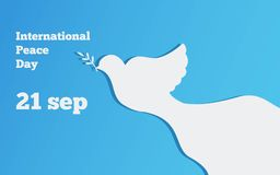 Flat banner with a dove, the international day of peace design vector illustration. Flat banner  peace design vector illustration Royalty Free Stock Photo