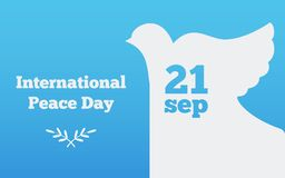 Flat banner with a dove, the international day of peace design vector illustration. Flat banner  peace design vector illustration Royalty Free Stock Images