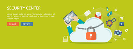 Flat banner. Illustration of security center. Cloud  with lock a Stock Photos