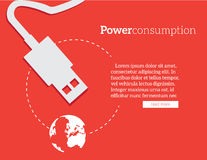 Flat banner of power and energy savings vector Royalty Free Stock Images
