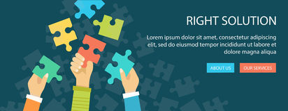 Flat banner of right solution. Hands holding a puzzle pieces. Royalty Free Stock Photos