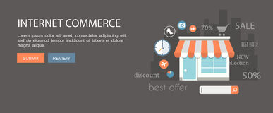 Flat banner set.Internet commerce and email marketing illustrati Stock Photography
