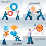 Flat Banner Set Team Work Success Collaboration. Vector Illustration on Color Background. Men in Business Suits Twist Color Gears Together and Collect Puzzles royalty free illustration