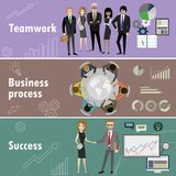 Flat banner set with teamwork, business process and success. Cartoon stock vector illustration Royalty Free Stock Image