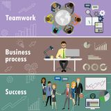 Flat banner set with teamwork, business process and success. Cartoon stock vector illustration Royalty Free Stock Images