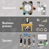 Flat banner set with teamwork, business process and success. Flat banner set with teamwork, business process and success, cartoon stock vector illustration Stock Photos