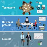 Flat banner set with teamwork, business process and success. Flat banner set with teamwork, business process and success, stock vector illustration Royalty Free Stock Photography