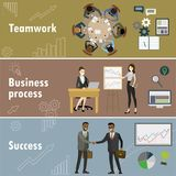 Flat banner set with teamwork, business process and success. Stock vector illustration Stock Photos