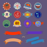 0215_3 flat banner. Stickers discounts in morecambe topics with dents Royalty Free Stock Photography