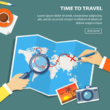 Flat banner of travel planning. Desktop with obiects and hands. Stock Photo