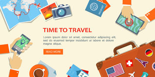 Flat banner of travel planning. Desktop with obiects and hands. stock illustration