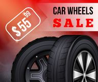 Flat Banner Vector Car Wheels Sale Booklet Flier. Buy New Wheels For Super Lower Price Tire Fitting Automobile Shop Garage Car Service Black Splint royalty free illustration