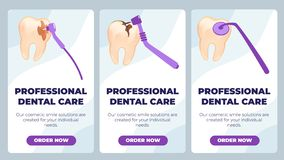 Flat Banner is Written Professional Dental Care. stock illustration