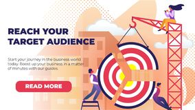 Flat Banner Written Reach Your Target Audience. royalty free illustration