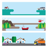 Flat banners with cars. Three banners with different subjects. Shown machine ship and helicopter. Nature background Stock Photo