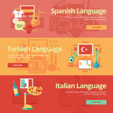 Flat banners collection for spanish, turkish, italian. Foreign languages education concepts for web banners and print materials. Flat design banners for spanish Royalty Free Stock Photography