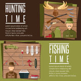 flat banners on hunting and fishing theme Stock Photos