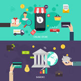 Flat banners set of bisines idea, banking system. And finance elements. Flat design style modern vector illustration concept Royalty Free Stock Image