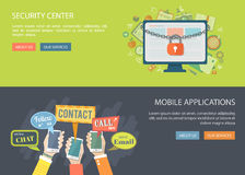 Flat banners set. Illustrations of security center and mobile ap Stock Images