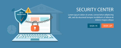 Flat banners set. Security center and search engine illustration. Flat banners set. Security center illustration with lock chain and laptop.Search engine stock image