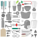 Flat Barman Mixing, Opening and Garnishing Tools. Bartender equipment. Isolated instrument icon. Flat Barman Mixing, Opening and Garnishing Tools. Bartender Royalty Free Stock Photography