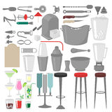 Flat Barman Mixing, Opening and Garnishing Tools. Bartender equipment. Isolated instrument icon Stock Photo