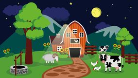 Free Flat Barn Design When The Sun Is Shining On Livestock With Mountain Background Night Stock Image - 160795091