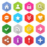 Flat basic icon set rounded hexagon web button. Flat basic icon 16 set rounded hexagon web button on white background. Simple minimalistic mono long shadow style Royalty Free Stock Photos
