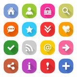 Flat basic icon set rounded square web button Royalty Free Stock Photography