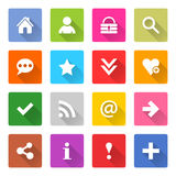 Flat basic icon set rounded square web button Stock Photo