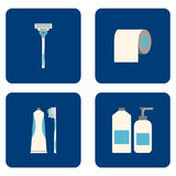 Flat Bathroom icons set on blue background. Vector illustration. Royalty Free Stock Photo