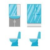 Flat bathroom icons Stock Photography