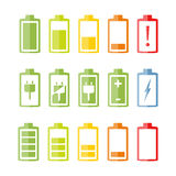 Flat Battery Icons Set Stock Image