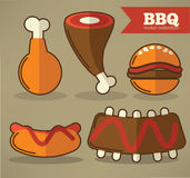 Flat bbq collection Royalty Free Stock Photography