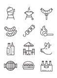 Flat bbq icons. Vector black flat bbq icons on white Royalty Free Stock Photo
