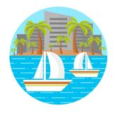 Flat beach landscape. Two sailing boats. Palm trees. City landscape. Vector illustration. Editable. Isolated. Round composition. E. PS10 royalty free illustration