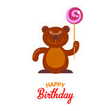 Flat bear and lollipop card Stock Photos
