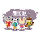 Flat beasts musicians Royalty Free Stock Image