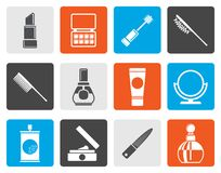Flat beauty, cosmetic and make-up icons stock illustration
