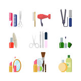 Flat  beauty shop salon web app icons: makeup hair tools. Flat style creative modern beauty shop salon web app concept icon set. Comb scissors hairdryer nail Royalty Free Stock Photos