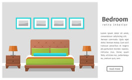 Flat bedroom design in retro colors. Vector background. Bedroom design. Banner of retro bedroom interior in flat style. Background. Vector illustration Royalty Free Stock Photography