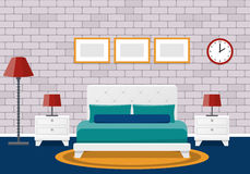 Flat bedroom interior. Hotel room design. Vector background. vector illustration